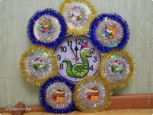 Декор предметов Моделирование: Новогодние часы Диски компьютерные Новый год. Фото 2