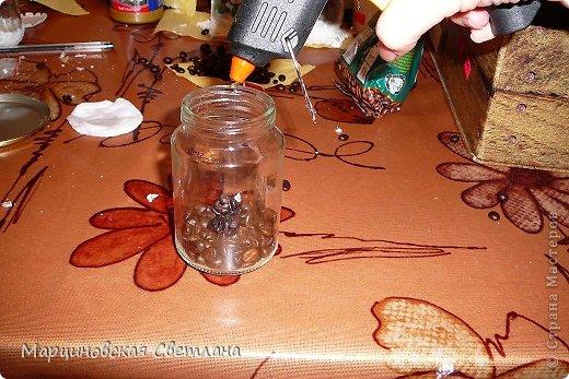 Мастер-класс Роспись: Кофейный подсвечник со змейкой.МК. Банки стеклянные, Клей, Кофе, Краска, Проволока, Пряжа, Свечи Новый год. Фото 5
