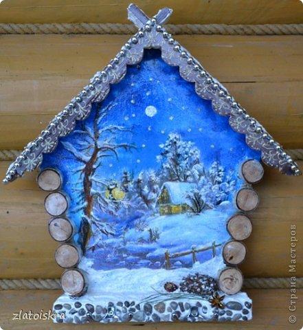 Декор предметов, Интерьер Декупаж, Коллаж: Ключницы, панно и колодец Материал природный Новый год. Фото 1