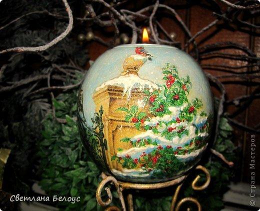 Декор предметов Декупаж: Новогодняя лихорадка... Дерево, Свечи Новый год. Фото 11