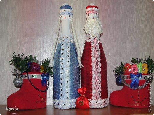 Декор предметов: дедушка мороз и снегурочка Бутылки стеклянные, Кружево, Ленты Новый год. Фото 4