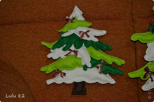 Поделка, изделие: Красивые елочки из фетра + их выкройки.   Ткань Новый год. Фото 2