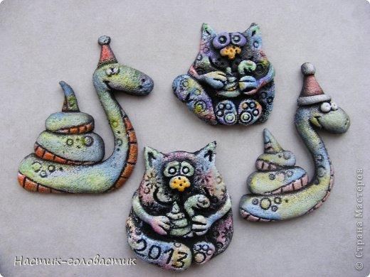 Мастер-класс, Поделка, изделие Лепка: Соленые змеи и коты. Мини-МК. Тесто соленое Новый год. Фото 2