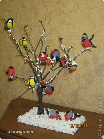 Поделка, изделие: Снегири на дереве Вата Новый год. Фото 1