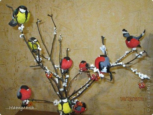 Мастер-класс Лепка: СНЕГИРИ из ваты МК Вата, Гуашь, Клей Новый год. Фото 1