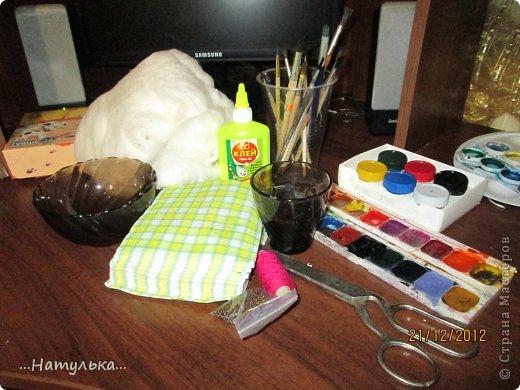 Мастер-класс Лепка: СНЕГИРИ из ваты МК Вата, Гуашь, Клей Новый год. Фото 2