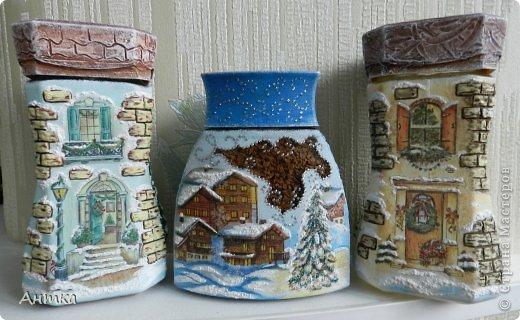 Декор предметов Декупаж, Лепка, Шитьё: Заснеженные кофейные домики Банки стеклянные, Салфетки Новый год. Фото 1