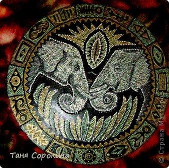 Декор предметов Рисование и живопись: Влюблённые слонята. Point-to-point. Краска. Фото 4