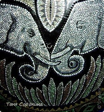 Декор предметов Рисование и живопись: Влюблённые слонята. Point-to-point. Краска. Фото 6