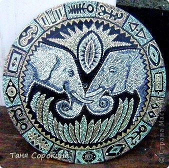 Декор предметов Рисование и живопись: Влюблённые слонята. Point-to-point. Краска. Фото 7