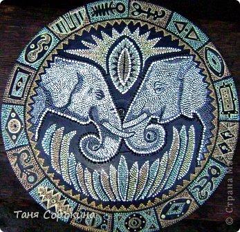 Декор предметов Рисование и живопись: Влюблённые слонята. Point-to-point. Краска. Фото 5