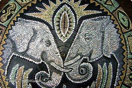 Декор предметов Рисование и живопись: Влюблённые слонята. Point-to-point. Краска. Фото 1