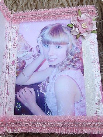 Поделка, изделие, Скрапбукинг: Розовый мини альбом. Фото 6