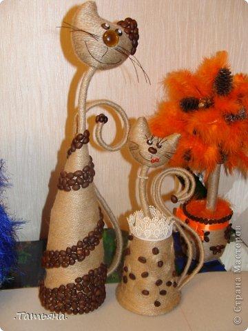 Поделка, изделие Моделирование: кофейные кошки Бусинки, Кофе, Проволока, Шпагат. Фото 1