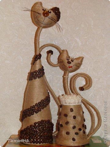 Поделка, изделие Моделирование: кофейные кошки Бусинки, Кофе, Проволока, Шпагат. Фото 2