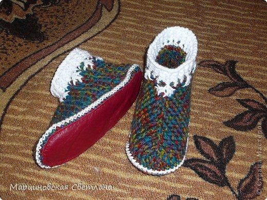 Мастер-класс Вязание крючком: МК тёплых тапочек. Кожа, Пряжа. Фото 4