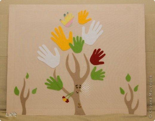 """Картина, панно, рисунок Аппликация из«ладошек»: Картина из ладошек """"Дерево"""" Ткань. Фото 2"""