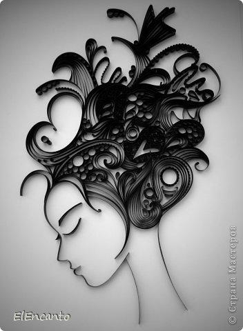 Картина, панно, рисунок, Мастер-класс Квиллинг: Профиль девушки + мини МК Бумажные полосы. Фото 1