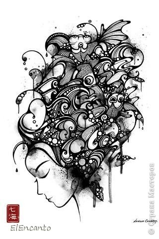 Картина, панно, рисунок, Мастер-класс Квиллинг: Профиль девушки + мини МК Бумажные полосы. Фото 2