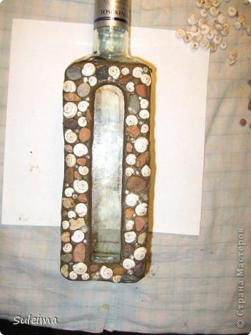 Декор предметов, Мастер-класс Лепка: Декор стеклянных сосудов камешками и улитками МК Материал природный, Тесто соленое. Фото 4