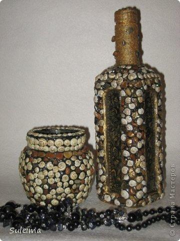 Декор предметов, Мастер-класс Лепка: Декор стеклянных сосудов камешками и улитками МК Материал природный, Тесто соленое. Фото 1