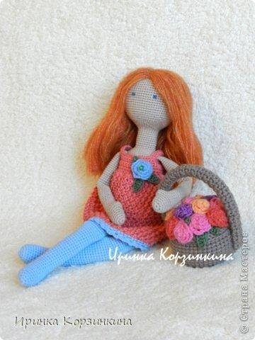 Куклы Вязание крючком, Вязание спицами: Рыжая... По мотивам тыквоголовок. Нитки. Фото 1