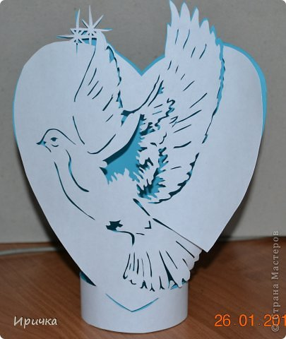 Поделка, изделие Вытынанка: К дню Св. Валентина. Бумага Валентинов день. Фото 1