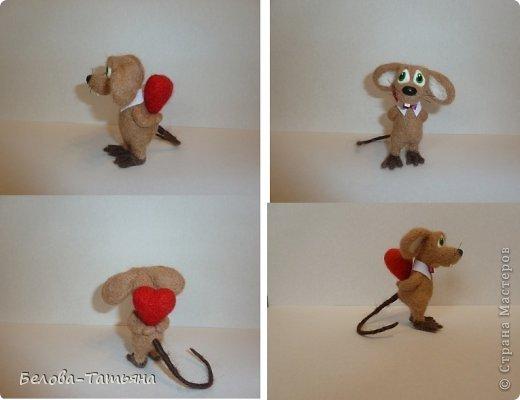 Поделка, изделие Валяние (фильцевание): Влюблённые мышата! Шерсть Валентинов день. Фото 4