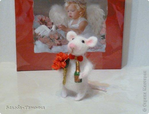 Поделка, изделие Валяние (фильцевание): Влюблённые мышата! Шерсть Валентинов день. Фото 3