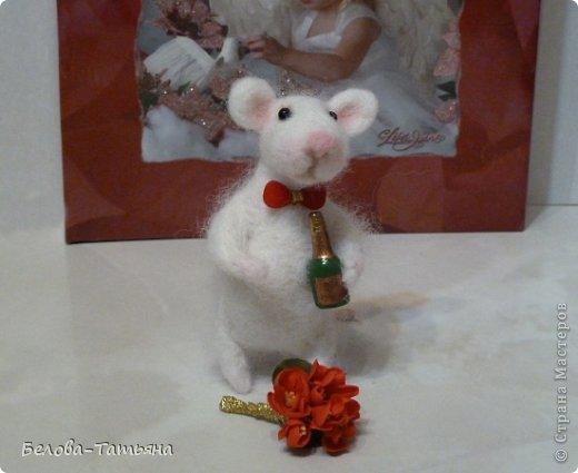 Поделка, изделие Валяние (фильцевание): Влюблённые мышата! Шерсть Валентинов день. Фото 2