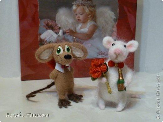 Поделка, изделие Валяние (фильцевание): Влюблённые мышата! Шерсть Валентинов день. Фото 1