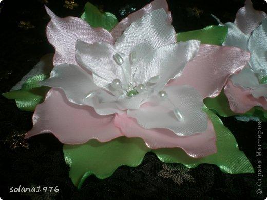 Украшение Цумами Канзаши: Цветочки Ленты. Фото 1