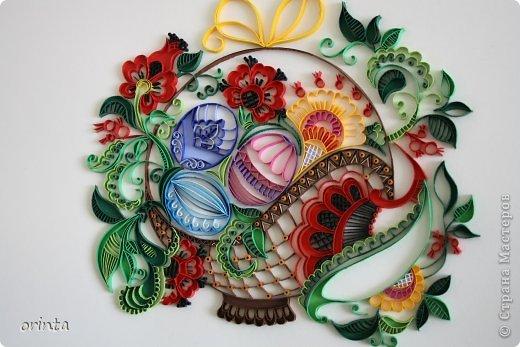 Картина, панно, рисунок Квиллинг: Пасхальное яйцо в корзинке Бумага Пасха. Фото 1