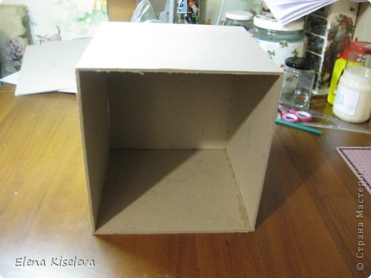 Мастер-класс: Коробочки для хранения салфеток. МК. Бумага, Картон, Клей, Ткань. Фото 4