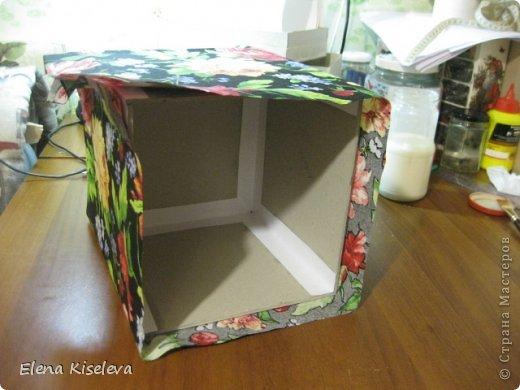 Мастер-класс: Коробочки для хранения салфеток. МК. Бумага, Картон, Клей, Ткань. Фото 11