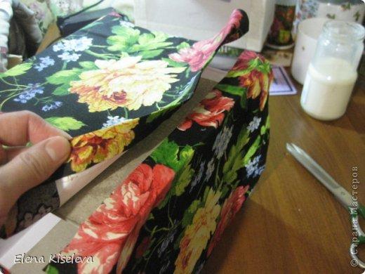 Мастер-класс: Коробочки для хранения салфеток. МК. Бумага, Картон, Клей, Ткань. Фото 12