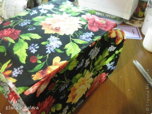 Мастер-класс: Коробочки для хранения салфеток. МК. Бумага, Картон, Клей, Ткань. Фото 13