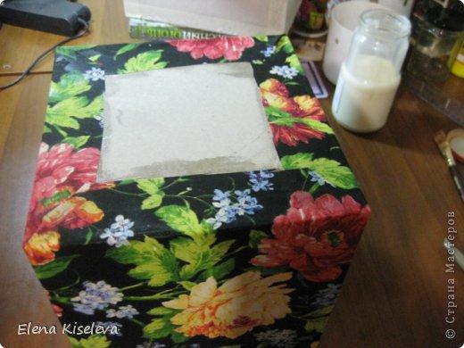 Мастер-класс: Коробочки для хранения салфеток. МК. Бумага, Картон, Клей, Ткань. Фото 15