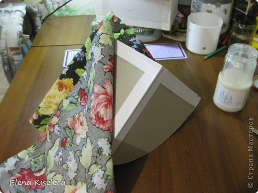 Мастер-класс: Коробочки для хранения салфеток. МК. Бумага, Картон, Клей, Ткань. Фото 19