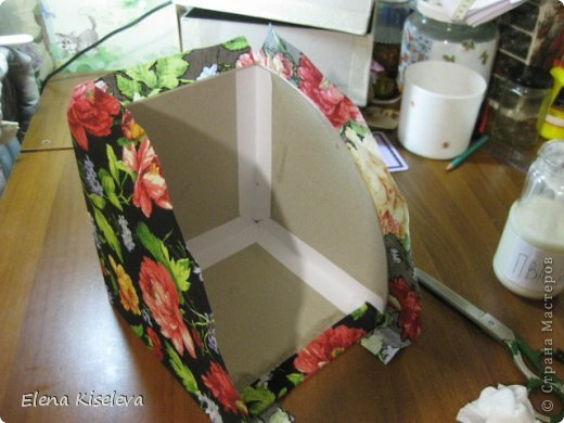Мастер-класс: Коробочки для хранения салфеток. МК. Бумага, Картон, Клей, Ткань. Фото 20