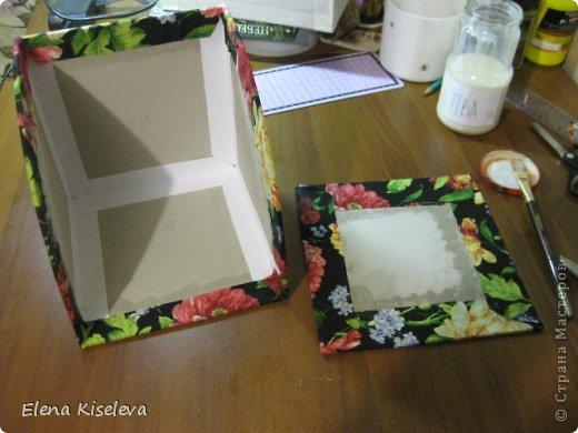 Мастер-класс: Коробочки для хранения салфеток. МК. Бумага, Картон, Клей, Ткань. Фото 21