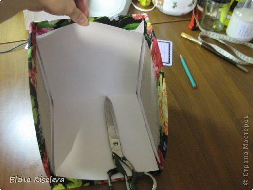 Мастер-класс: Коробочки для хранения салфеток. МК. Бумага, Картон, Клей, Ткань. Фото 26