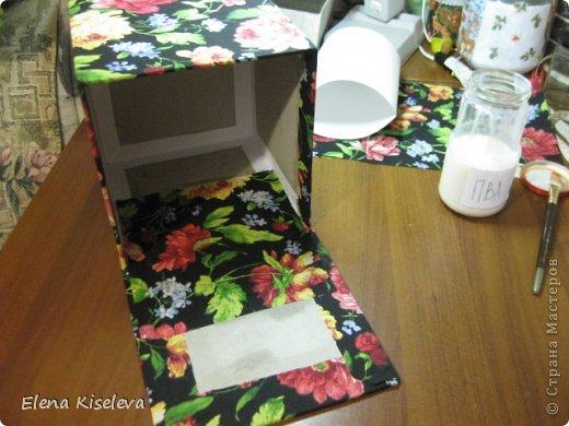 Мастер-класс: Коробочки для хранения салфеток. МК. Бумага, Картон, Клей, Ткань. Фото 23