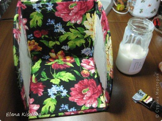 Мастер-класс: Коробочки для хранения салфеток. МК. Бумага, Картон, Клей, Ткань. Фото 27