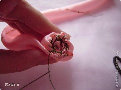 Мастер-класс Шитьё: Роза, как делаю её я, МК Ленты. Фото 12