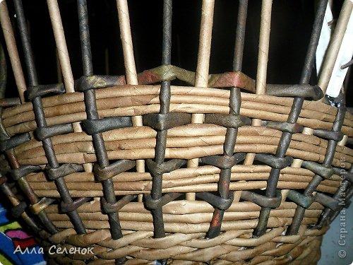 Мастер-класс, Поделка, изделие Плетение: Корзинка-чугунок Бумага газетная, Трубочки бумажные Отдых. Фото 13