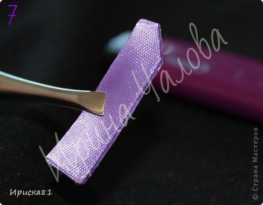 Мастер-класс Цумами Канзаши: Будем делать крокусы? МК крокусов из ткани в технике Канзаши Ленты. Фото 8