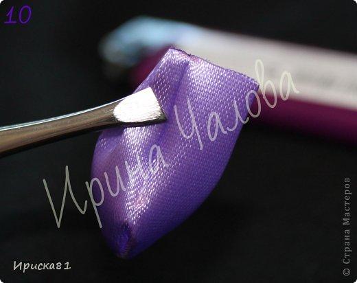 Мастер-класс Цумами Канзаши: Будем делать крокусы? МК крокусов из ткани в технике Канзаши Ленты. Фото 11