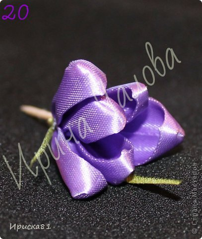 Мастер-класс Цумами Канзаши: Будем делать крокусы? МК крокусов из ткани в технике Канзаши Ленты. Фото 21