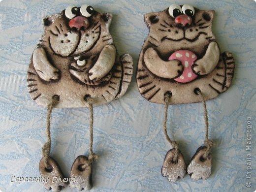 Поделка, изделие Лепка: Кошаки - повторюшки Тесто соленое 8 марта. Фото 3